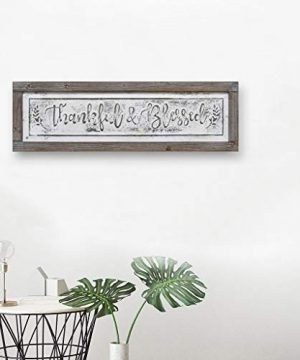 PrideCreation Thankful Blessed Wall Signs 36x11 Inch Wall Hanging Art Decor Rustic Framed Inset Embossed Vintage Farmhouse Signs For Linging Dining Room Bedroom Kitchen Distressed GreyWhite 0 2 300x360