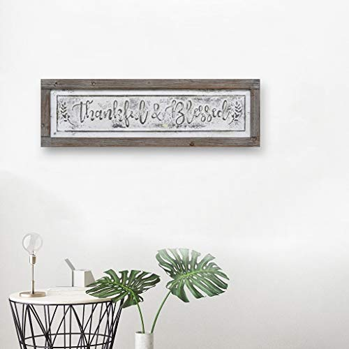 PrideCreation Thankful Blessed Wall Signs 36x11 Inch Wall Hanging Art Decor Rustic Framed Inset Embossed Vintage Farmhouse Signs For Linging Dining Room Bedroom Kitchen Distressed GreyWhite 0 2