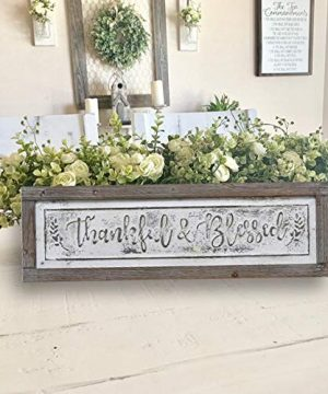 PrideCreation Thankful Blessed Wall Signs 36x11 Inch Wall Hanging Art Decor Rustic Framed Inset Embossed Vintage Farmhouse Signs For Linging Dining Room Bedroom Kitchen Distressed GreyWhite 0 3 300x360