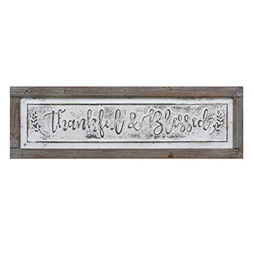 PrideCreation Thankful Blessed Wall Signs 36x11 Inch Wall Hanging Art Decor Rustic Framed Inset Embossed Vintage Farmhouse Signs For Linging Dining Room Bedroom Kitchen Distressed GreyWhite 0