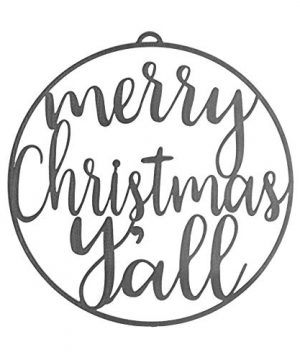ROCC RUSTED ORANGE CRAFTWORKS CO Winter Greeting Signs Merry Christmas Yall 115 Round Hanging Metal Christmas Sign Front Door Wreath Insert Rustic Modern Farmhouse Holiday Welcome 0 300x360