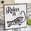 Relax And Get Naked Metal Rustic Bathroom Farmhouse Style Sign 0 100x100