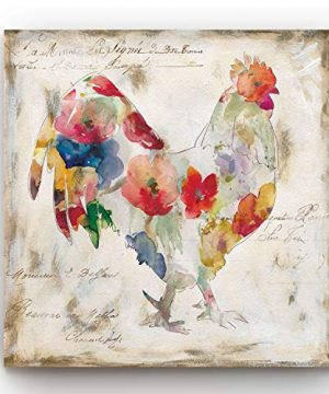 Renditions Gallery Flowered Rooster Wall Art Chicken Farm Artwork Multicolored Flower Design Country Barn Decor Premium Gallery Wrapped Canvas Ready To Hang 24 In H X 24 In W Made In America 0 300x360