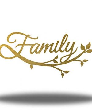 Riverside Designs Family Cursive Word Metal Sign Wall Decor Gold 18 0 300x360