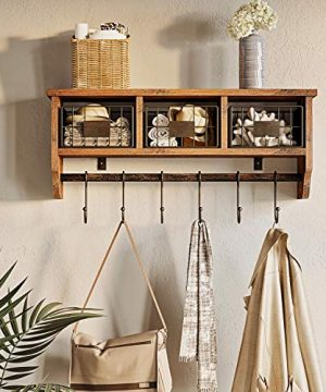 Rolanstar Wall Mounted Shelf With Hooks Entryway Organizer Shelf With Storage Cabinets Wall Mount Coat Rack With 6 Hooks 24 Hanging Coffee Bar Shelf For Living Room Bathroom Kitchen Rustic Brown 0 0 300x360