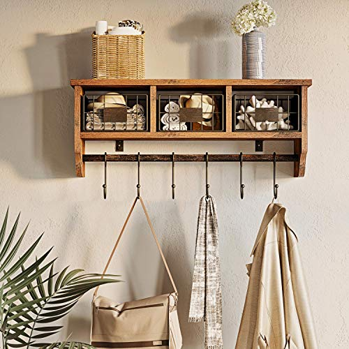 Rolanstar Wall Mounted Shelf With Hooks Entryway Organizer Shelf With Storage Cabinets Wall Mount Coat Rack With 6 Hooks 24 Hanging Coffee Bar Shelf For Living Room Bathroom Kitchen Rustic Brown 0 0