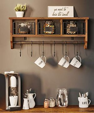 Rolanstar Wall Mounted Shelf With Hooks Entryway Organizer Shelf With Storage Cabinets Wall Mount Coat Rack With 6 Hooks 24 Hanging Coffee Bar Shelf For Living Room Bathroom Kitchen Rustic Brown 0 1 300x360