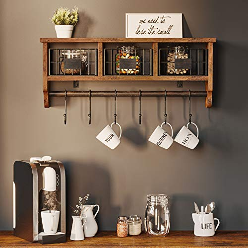 Rolanstar Wall Mounted Shelf With Hooks Entryway Organizer Shelf With Storage Cabinets Wall Mount Coat Rack With 6 Hooks 24 Hanging Coffee Bar Shelf For Living Room Bathroom Kitchen Rustic Brown 0 1