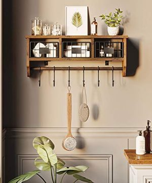 Rolanstar Wall Mounted Shelf With Hooks Entryway Organizer Shelf With Storage Cabinets Wall Mount Coat Rack With 6 Hooks 24 Hanging Coffee Bar Shelf For Living Room Bathroom Kitchen Rustic Brown 0 2 300x360
