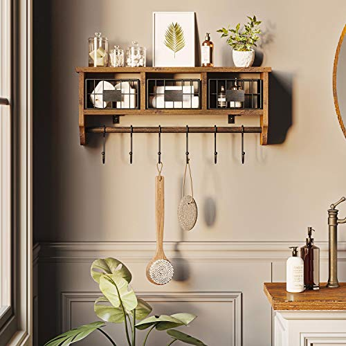 Rolanstar Wall Mounted Shelf With Hooks Entryway Organizer Shelf With Storage Cabinets Wall Mount Coat Rack With 6 Hooks 24 Hanging Coffee Bar Shelf For Living Room Bathroom Kitchen Rustic Brown 0 2