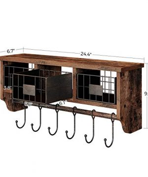 Rolanstar Wall Mounted Shelf With Hooks Entryway Organizer Shelf With Storage Cabinets Wall Mount Coat Rack With 6 Hooks 24 Hanging Coffee Bar Shelf For Living Room Bathroom Kitchen Rustic Brown 0 4 300x360