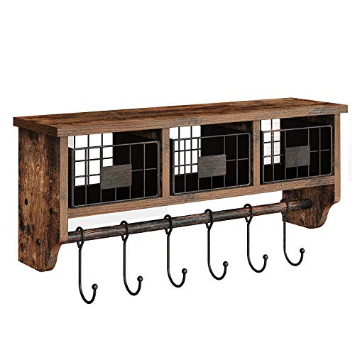 Rolanstar Wall Mounted Shelf With Hooks Entryway Organizer Shelf With Storage Cabinets Wall Mount Coat Rack With 6 Hooks 24 Hanging Coffee Bar Shelf For Living Room Bathroom Kitchen Rustic Brown 0
