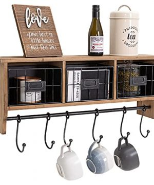 Rustic Coat Rack Wall Mounted Shelf With Hooks Baskets Coffee Bar Wall Shelf Organizer With 6 Coat Hooks And Cubbies For Kitchen Entryway Bathroom Hang Mugs K Cups Coats Hats Towels Keys 0 300x360