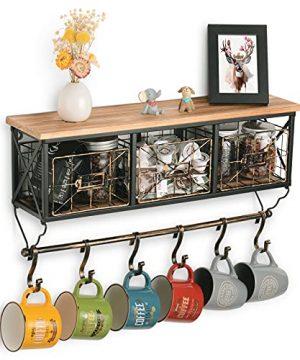 Rustic Coat Rack Wall Mounted Shelf With Hooks Storage Baskets Entryway Organizer Hanging Shelf Hanging Mug Coffee Cup For Kitchen Living Room Bathroom 0 300x360