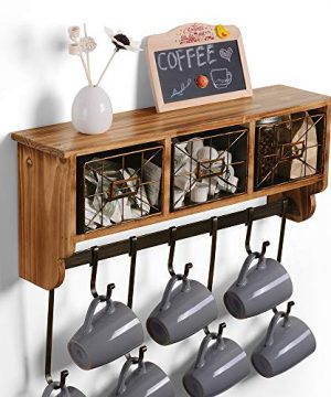Rustic Coat Rack Wall Mounted Wall Shelf With Hooks And 3 Storage Baskets Wood Wall Mount Shelf With 7 Coat Hooks Coffee Mug Rack For Kitchen Living Room Entryway Organizer Brown 0 300x360