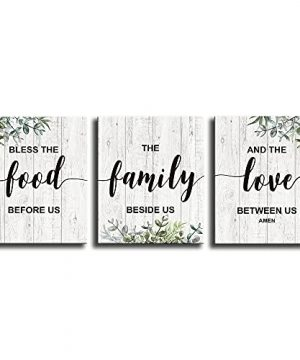 Rustic Farmhouse Canvas Print Kitchen Wall Decor Art SignInspirational Quotes Family Wall Decor PlaqueHome Dining Room Living Room Coffee Wall Decoration Triptych Mural 12 X 15 Inch Triptych 0 300x360