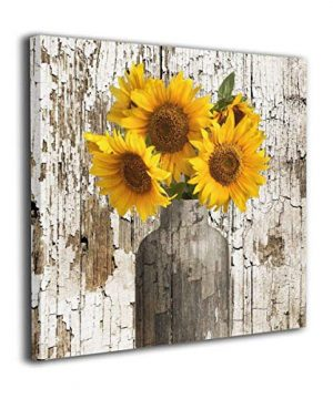 Rustic Floral Country Farmhouse Sunflower Contemporary Canvas Artwork Prints Wall Art Decor For Home Living Room Bedroom Decoration Office Wall Decor Framed Ready To Hang 24X24inch Farmhouse Sunflower 0 300x360
