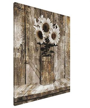Rustic Sunflower Wood Wall Country Farmhouse Flower Canvas Prints Wall Art 16X20Inch Paintings Artwork Living Room Bedroom Bathroom Modern Home Decoration Ready To Hang 0 300x360