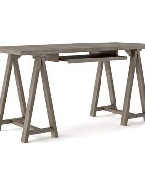 SIMPLIHOME Sawhorse SOLID WOOD Modern Industrial 60 Inch Wide Home Office Desk Writing Table Workstation Study Table Furniture In Farmhouse Grey 0 1 300x360