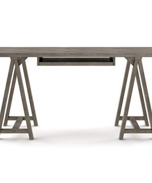 SIMPLIHOME Sawhorse SOLID WOOD Modern Industrial 60 Inch Wide Home Office Desk Writing Table Workstation Study Table Furniture In Farmhouse Grey 0 2 300x360