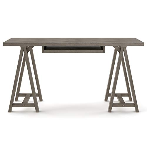 SIMPLIHOME Sawhorse SOLID WOOD Modern Industrial 60 Inch Wide Home Office Desk Writing Table Workstation Study Table Furniture In Farmhouse Grey 0 2