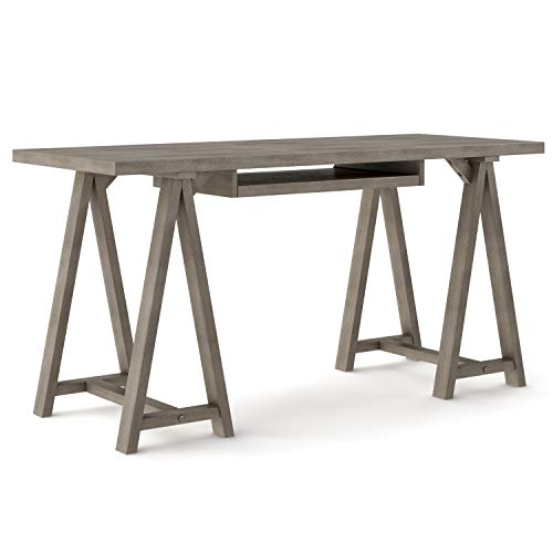 SIMPLIHOME Sawhorse SOLID WOOD Modern Industrial 60 Inch Wide Home Office Desk Writing Table Workstation Study Table Furniture In Farmhouse Grey 0