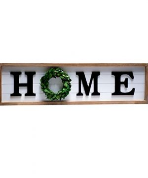 SIMPLY ANI Rustic Large Home Sign With Real Wreath For OFramed Farmhouse Wood Wall Sign PlaqueGallery Wall Hanging Decor Rustic Farmhouse Home DecorShiplap SignsWooden Home PlaqueFixer Upper 0 300x360