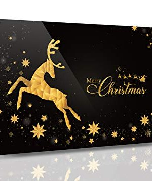 SKYPOP DESIGNS Christmas Wall Decor Metal Merry Christmas Sign Wall Art Rustic Christmas Signs For Home Decorations Farmhouse Metal Frame In Black Gold For Indoor Outdoor 8x12 Inch 0 300x358