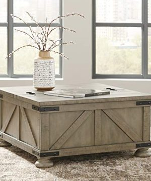 Signature Design By Ashley Aldwin Farmhouse Square Coffee Table With Lift Top For Storage Light Brown 0 0 300x360