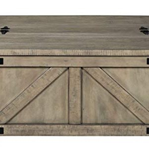 Signature Design By Ashley Aldwin Farmhouse Square Coffee Table With Lift Top For Storage Light Brown 0 1 300x339