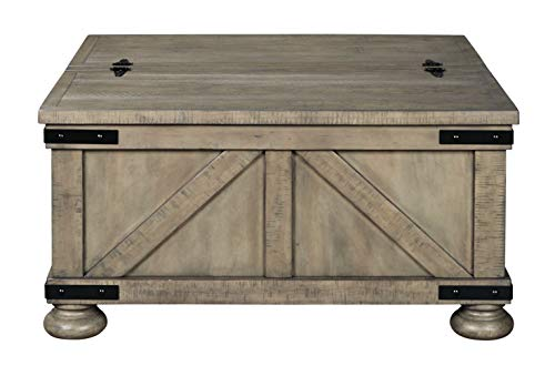 Signature Design By Ashley Aldwin Farmhouse Square Coffee Table With Lift Top For Storage Light Brown 0 1