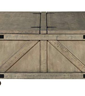 Signature Design By Ashley Aldwin Farmhouse Square Coffee Table With Lift Top For Storage Light Brown 0 3 300x337
