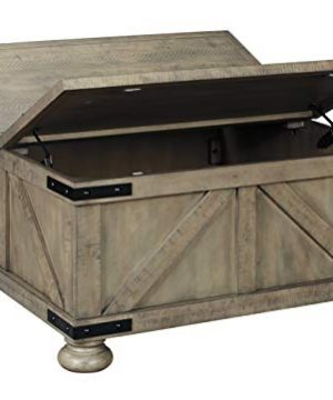 Signature Design By Ashley Aldwin Farmhouse Square Coffee Table With Lift Top For Storage Light Brown 0 4 300x360