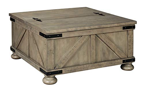 Signature Design By Ashley Aldwin Farmhouse Square Coffee Table With Lift Top For Storage Light Brown 0