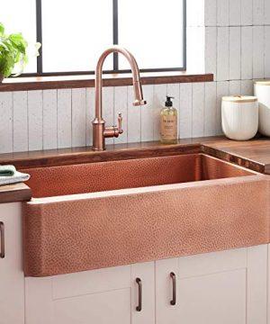 Signature Hardware 305572 Fiona 36 Farmhouse Single Basin Copper Kitchen Sink 0 300x360