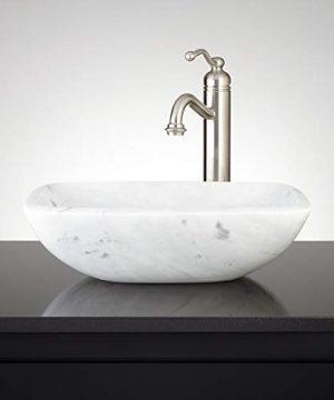 Signature Hardware 334820 17 Curved Rectangular Carrara Marble Vessel Bathroom Sink 0 300x360