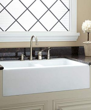 Signature Hardware 399759 Angrove 33 Cast Iron Double Basin Farmhouse Kitchen Sink With 4 Faucet Holes 0 300x360