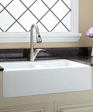 Signature Hardware 399760 Angrove 33 Cast Iron Double Basin Farmhouse Kitchen Sink With Single Faucet Hole 0 300x360