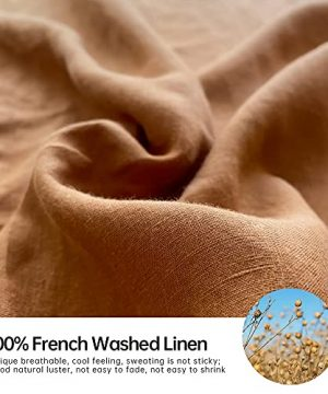 SimpleOpulence 100 Washed Linen Sheet Set Basic Style 4 Pieces 1 Flat Sheet 1 Fitted Sheet 2 Pillowcases Natural French Flax Soft Breathable Farmhouse Bedding King Rust 0 0 300x360