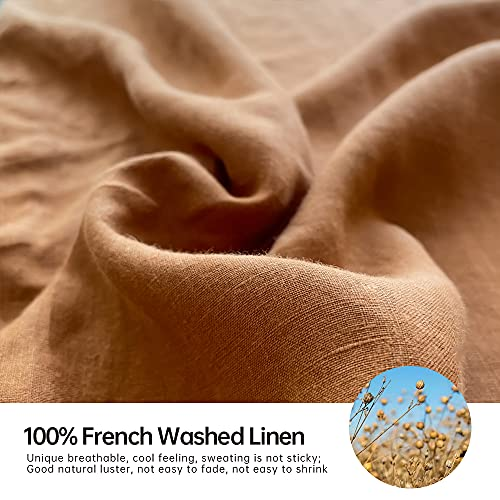 SimpleOpulence 100 Washed Linen Sheet Set Basic Style 4 Pieces 1 Flat Sheet 1 Fitted Sheet 2 Pillowcases Natural French Flax Soft Breathable Farmhouse Bedding King Rust 0 0