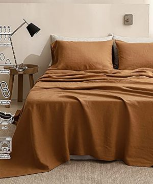 SimpleOpulence 100 Washed Linen Sheet Set Basic Style 4 Pieces 1 Flat Sheet 1 Fitted Sheet 2 Pillowcases Natural French Flax Soft Breathable Farmhouse Bedding King Rust 0 3 300x360