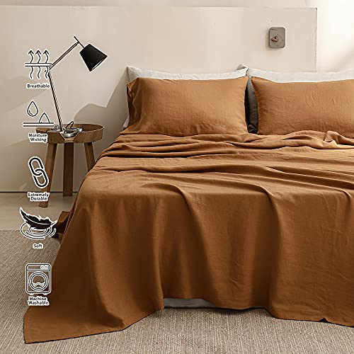SimpleOpulence 100 Washed Linen Sheet Set Basic Style 4 Pieces 1 Flat Sheet 1 Fitted Sheet 2 Pillowcases Natural French Flax Soft Breathable Farmhouse Bedding King Rust 0 3