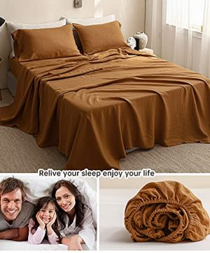 SimpleOpulence 100 Washed Linen Sheet Set Basic Style 4 Pieces 1 Flat Sheet 1 Fitted Sheet 2 Pillowcases Natural French Flax Soft Breathable Farmhouse Bedding King Rust 0 4 300x360