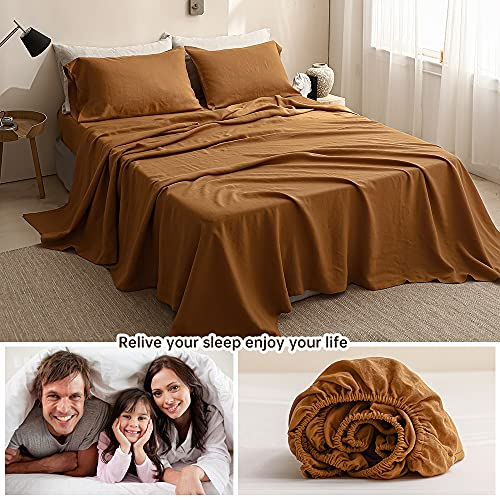 SimpleOpulence 100 Washed Linen Sheet Set Basic Style 4 Pieces 1 Flat Sheet 1 Fitted Sheet 2 Pillowcases Natural French Flax Soft Breathable Farmhouse Bedding King Rust 0 4