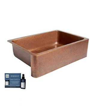Sinkology K1A 1004ND AMZ Adams Handmade 33 CareIQ Kit Farmhouse Apron Front Kitchen Sink Single Bowl Antique Copper 0 300x360