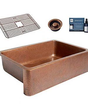 Sinkology K2008 D66 Adams FarmhouseApron Front 33 In Single Bowl Grid Disposal Drain And Care Kitchen Sink Kit 33 Inch Antique Copper 0 300x360