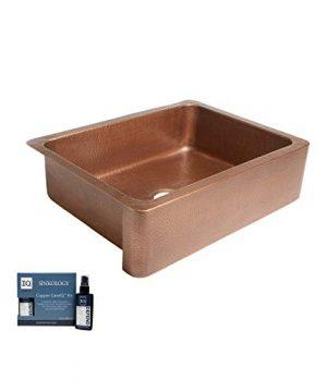 Sinkology SK302 30AC AMZ Courbet Handmade 30 CareIQ Kit Farmhouse Apron Front Kitchen Sink Single Bowl Antique Copper 0 300x360