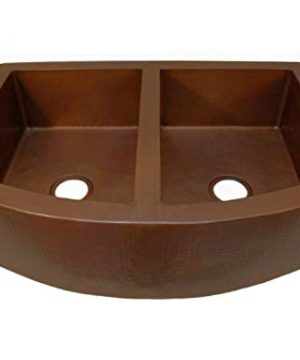 Soluna 33 Copper Farmhouse Sink With Curved Apron Front In Cafe Natural Finish Double Bowl Copper Kitchen Sink 5050 Split Antique Style Rounded Apron Copper Sink Deluxe Hammered Copper Sink 0 300x360