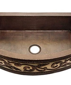 Soluna 36 Copper Farmhouse Kitchen Sink With With Nickel Plated Front Apron Design Rio Grande Finish Single Bowl Copper Farm Sink With Rounded Front Single Well Hammered Copper Kitchen Sink 0 300x360