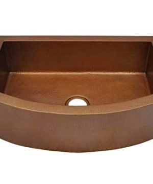 Soluna Copper Farmhouse Sink With Rounded Apron Front 30 Hammered Copper Kitchen Sink Cafe Natural Finish Pure Rounded Copper Style Sink Single Bowl Premium Copper Sink With Round Front Panel 0 300x360